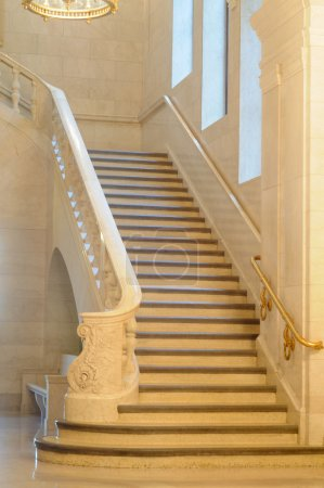Photo for An elegant marble staircase in a venerable public building - Royalty Free Image