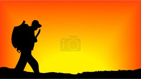 Soldier walking in front of sun