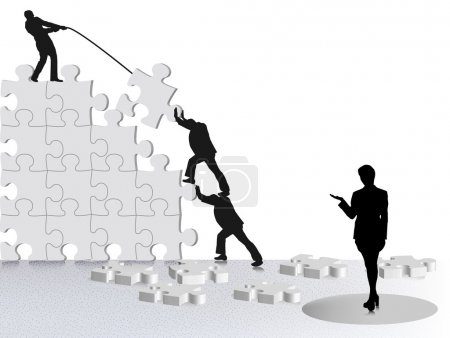 Illustration for Showing achievement of business success via team constructing on puzzle showing achievement of business success via team constructing on puzzle - Royalty Free Image