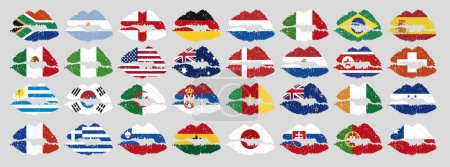 national flags of countries starting with south africa in lip sh