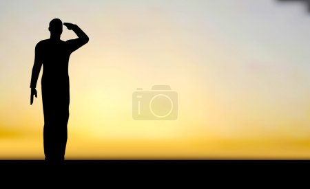 Illustration for Silhouette of an army soldier saluting on hills against sunset - Royalty Free Image