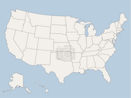 Vector map of the united states of america, each state is in seperate layer thus can be edited easily vector map of the united states of america, each state is in seperate layer thus can be edited easily
