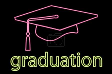 Illustration for Illustration of neon graduation cap symbol - Royalty Free Image