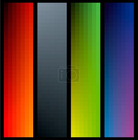 Gradient color banners in vertical format on black bacground