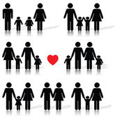 Family life icon set in black with a red heart reflection shadow