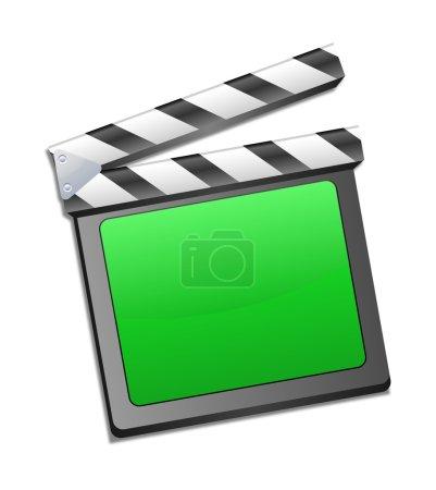 movie clapper, clapboard, clapperboard, film slate in green