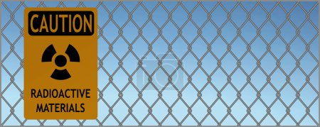Illustration for Illustration of sign of caution radioactive materials hanging on a fence against blue sky - Royalty Free Image