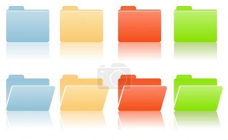Illustration pour Dossiers de fichiers avec place pour l'étiquette dans les tons bleu, rouge, jaune, vert - image libre de droit