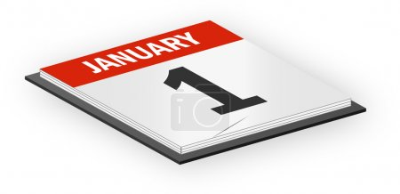3D Vector Calendar December 1th First Day of the Year