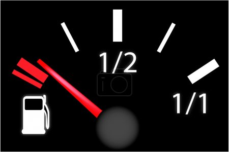 Illustration for Car dash board petrol meter, fuel gauge in empty gas tank - Royalty Free Image