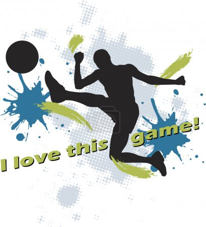 Illustration for Football design of man kicking soccer ball - Royalty Free Image