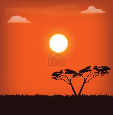 Illustration for Vector illustration of africa landscape with sun and trees on sunset - Royalty Free Image