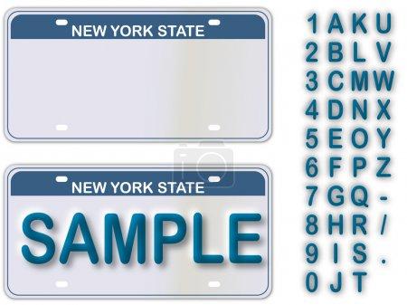 Illustration pour Plaque d'immatriculation vide New York avec des textes en direct modifiables - image libre de droit