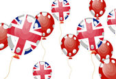 Vector illustration of balloon of United Kingdom flag with white spots