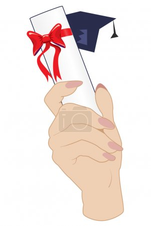 Illustration for Hand holding a graduation mortarboard cap and diploma in the air - Royalty Free Image