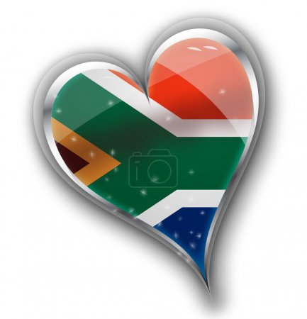 national flag of south africa in heart shape with additional det