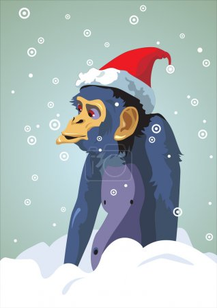 Illustration for Year of the monkey.12 Zodiac Animals. Holiday monkey in a red cap.  - Royalty Free Image