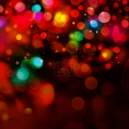 Colorful lights on red background