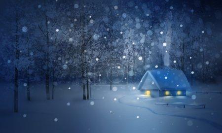 Photo pour Paysage de nuit avec maison dans la forêt d'hiver. - image libre de droit