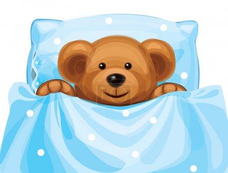 Illustration pour Vecteur d'ours mignon bébé dans son lit. - image libre de droit