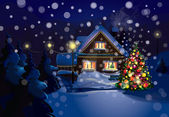 Vector of Christmas scene snowfall is in separated layer