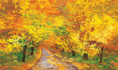 Vector of autumn landscape pathway in park