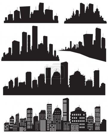 Photo pour Ensemble de silhouette de villes vectorielles - image libre de droit