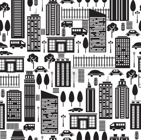 Seamless pattern of city.