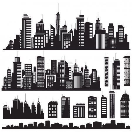 Set of vector cities silhouette and elements for d...