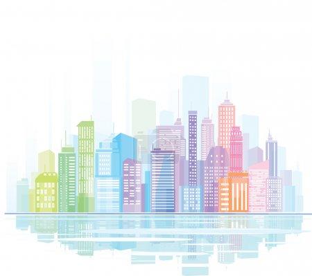 Illustration pour Panorama coloré de la ville . - image libre de droit