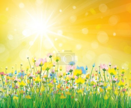 Illustration for Vector of colorful flowers on sunny background. - Royalty Free Image