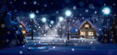 Illustration pour Vecteur de paysage hivernal. Joyeux Noël ! - image libre de droit