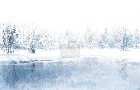 Illustration pour Vecteur de scène hivernale avec fond de rivière et de forêt . - image libre de droit