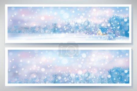 Illustration pour Vecteur de bannières hivernales . - image libre de droit