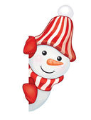 Vector of fun snowman hiding by blank isolated