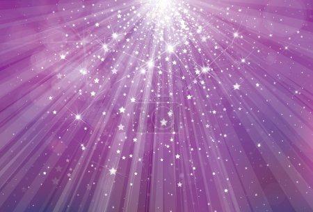 Illustration pour Vecteur fond violet paillettes avec des rayons de lumières et d'étoiles . - image libre de droit