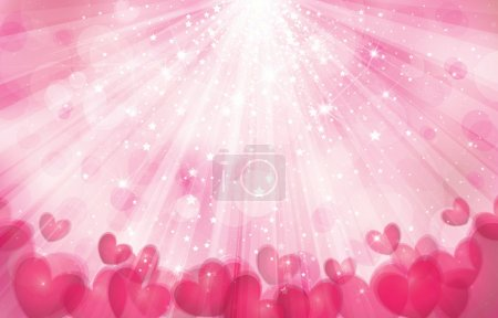 Illustration for Vector pink background with lights, rays and hearts. - Royalty Free Image