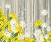 Vector dandelions on wooden background