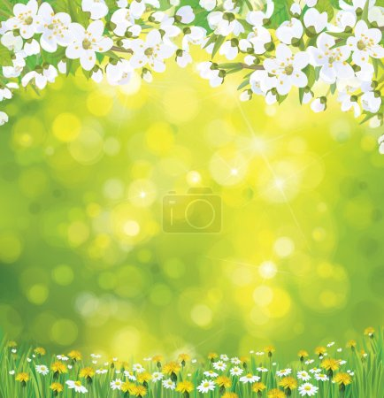 Illustration for Vector blossoming tree on spring background. - Royalty Free Image