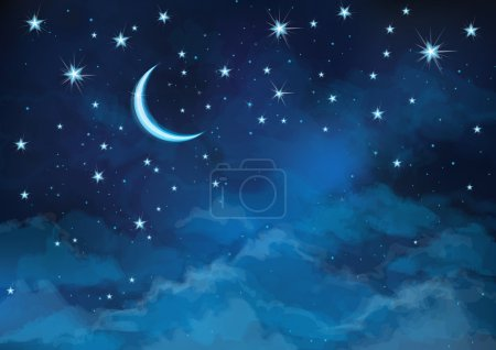 Illustration for Vector night sky background stars and moon. - Royalty Free Image