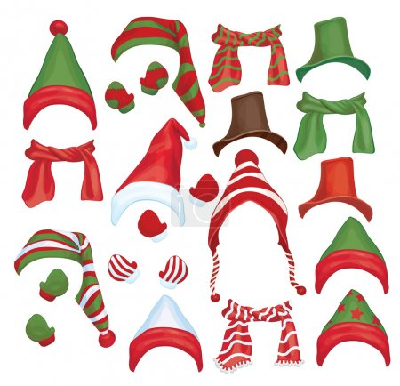 Illustration for Vector set of hats, scarfs and gloves for design isolated. - Royalty Free Image