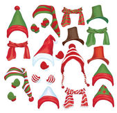 Vector set of hats scarfs and gloves for design isolated