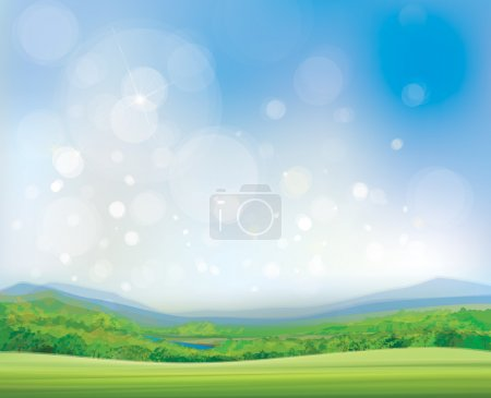 Illustration for Vector summer landscape,  beautiful, sunny day. - Royalty Free Image