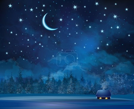 Illustration for Vector night scene with house  on starry sky background and forest. - Royalty Free Image