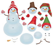 Vector snowman template make own snowman  snowman can change faces