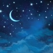 Vector night sky background stars and moon....