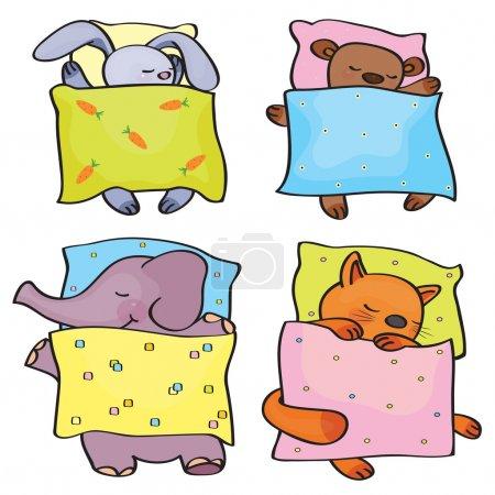 Illustration pour Vecteur dormir animaux mignons. - image libre de droit