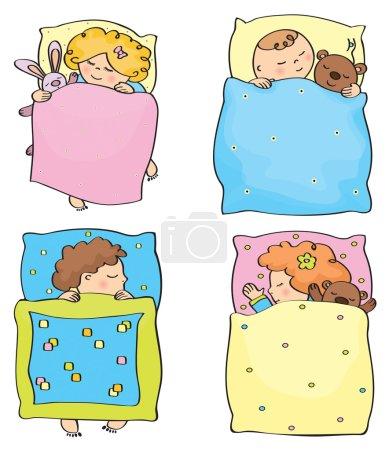 Illustration pour Enfants dormant Vector. - image libre de droit