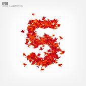 Number 5 Numbers with origami paper bird on abstract background