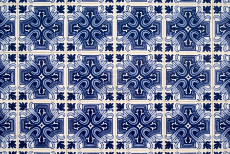 Photo for Portuguese azulejos, old tiled background - Royalty Free Image